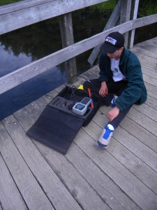 Brandon doing some water quality testing.